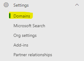Domain Settings navigation menu